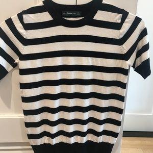 Zara black and white short sleeve top